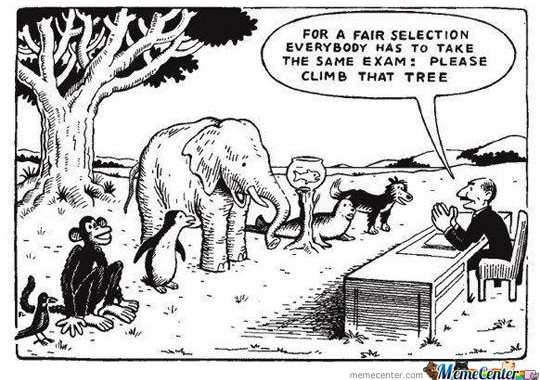 For a a fair selection everybody has to take the same exam